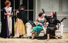 (From left) Amanda Quaid as Kay Conway, Leanne Agmon as Carol Conway, Rose Hemingway as Hazel Conway, and Kim Martin-Cotten as Mrs. Conway in J.B. Priestley's Time and the Conways, directed by Rebecca Taichman, March 29 - May 4, 2014 at The Old Globe.